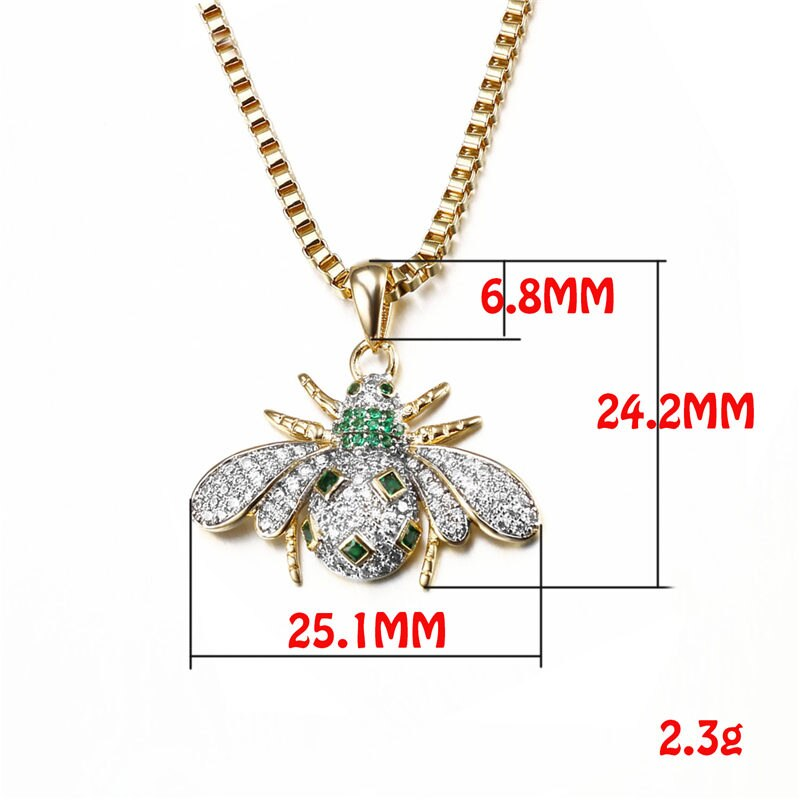 Green CZ Insect Ladybird Cute Jewelry Necklace Gold/Silver Color AAA White Cubic Zirconia