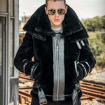 Top Quality Mens Winter Lamb Wool Motorcycle Plus Size Shearling
