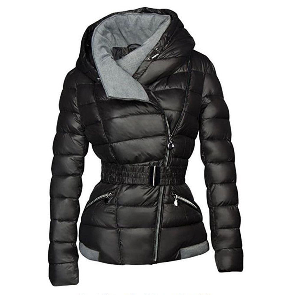 Warm Thick Short Jacket  with Belt Slim Casual zipper Gothic Black Outerwear Overcoats
