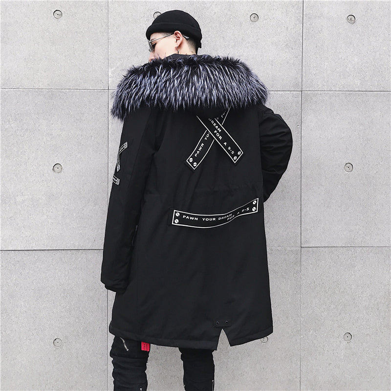 2018 High Street Black Hooded Long Winter Jacket Men Parka