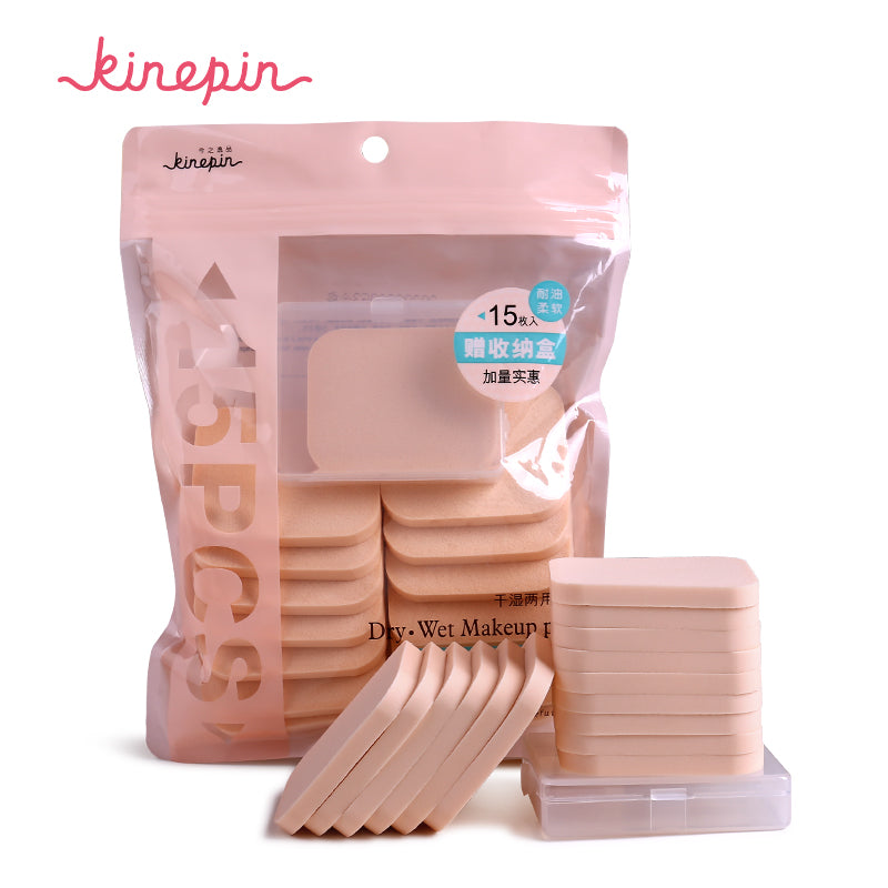 KINEPIN 15Pcs/Pack Cosmetic Puff Soft Women Makeup Foundation Sponge Flawless Dry Wet Make Up Powder Puffs Cosmetic Blender Tool