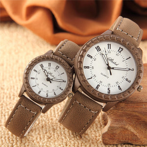 2 Pcs Hot Sales New Vintage leisure imitation wood pair watches men women lovers couple dress quartz wristwatch
