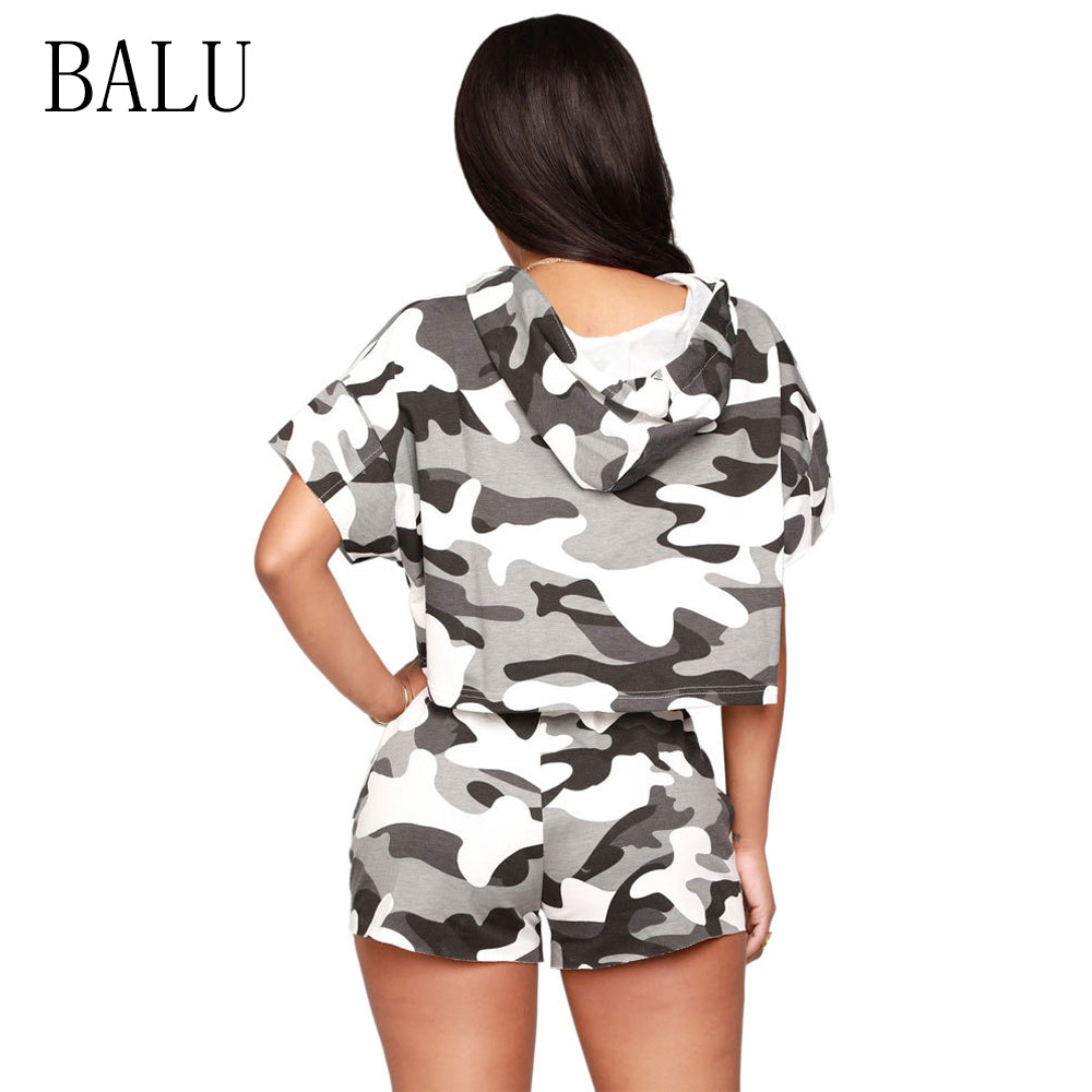 BALU Camouflage Print  Two Piece Set Short Sleeve Hooded Rompers
