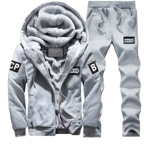 Spring Warm Hooded Sporting Suit Mens Winter Men Set Polerones Hombre Fashion Brand Fleece Lined Thick Tracksuit + Pants Male