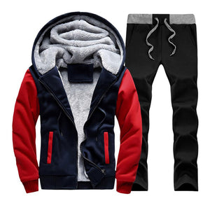 New Men Set Fashion Brand Fleece Thick Tracksuit + Pants 2 Pieces US Size Spring Warm Hooded Sporting Suit Mens Sportswear Sets