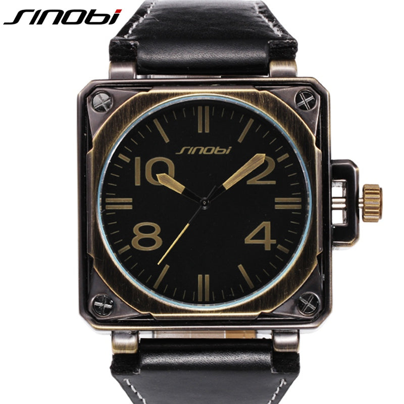 SINOBI Military Sports Square Men's Wrist Watches Leather Watchband Top Luxury Brand Male Geneva Quartz Clock Marines Wristwatch