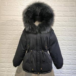 Hot Sale Women Winter Down Jacket 2018 New Thicken Slim Short White Duck Down Coat Female Natural Fur Parka Hooded Outerwear
