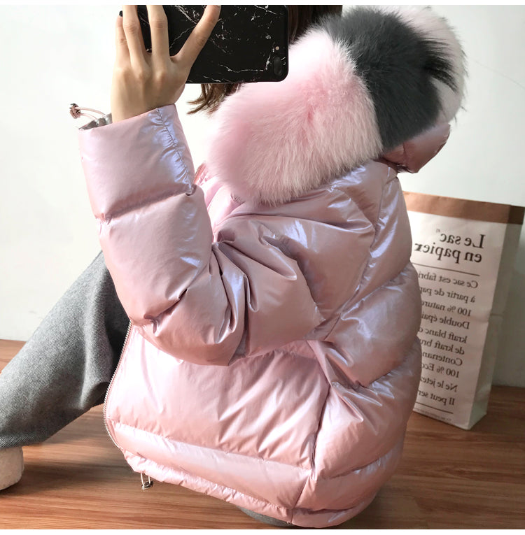 Large Real Natural Fox Fur 2019 Winter Jacket Women Down Parkas Coats Hooded White Duck Down Jacket Double Sided Waterproof Coat