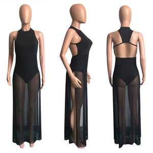 shipped from USA..Mesh Patchwork Halter Backless High Slit Solid Night Club Bodysuits Maxi Dress