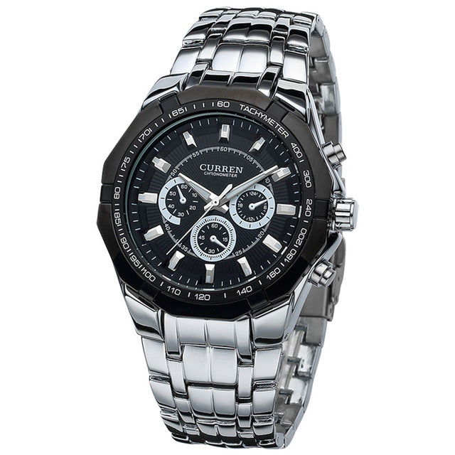 Curren  Full stainless steel Military Casual Sport Watch waterproof