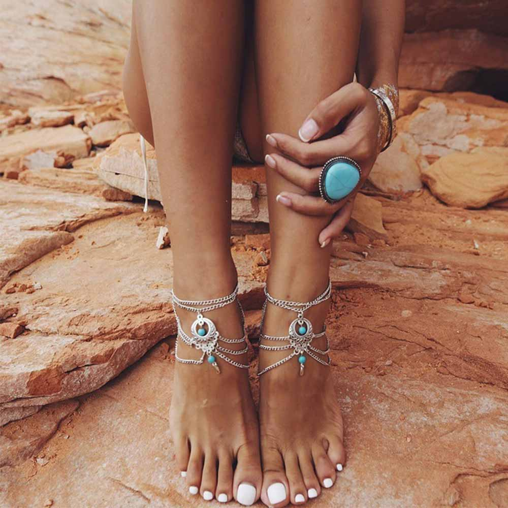 blue stone Beaded Anklets Chic Tassel Foot Chain