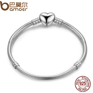 BAMOER Authentic 100% 925 Sterling Silver Snake Chain Moments Heart Bracelet & Bangle