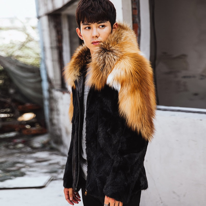 Men's fox fur mink hooded fur coat