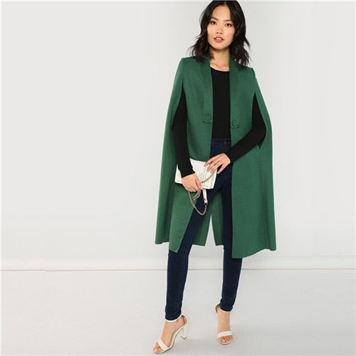 SHEIN Green Office Lady Elegant Shawl Collar Longline Cloak Solid Streetwear Coat 2018 Autumn Fashion Women Coats Outerwear