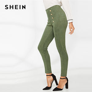 SHEIN Green Highstreet Casual High Waist Double Breasted Front Leggings 2018 Autumn Modern Lady Fashion Women Pants Trousers