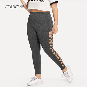 COLROVIE Grey Elegant Plus Cut Out Side Skinny Leggings 2018 Autumn Women High Waist Fitness Stretch Sporting Pants And Bottoms