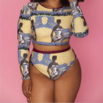 Long Sleeve 2 Piece plus size bikini set