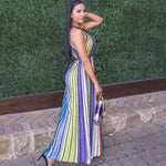 Women Stripe Halter Neck Long  Maxi Dress