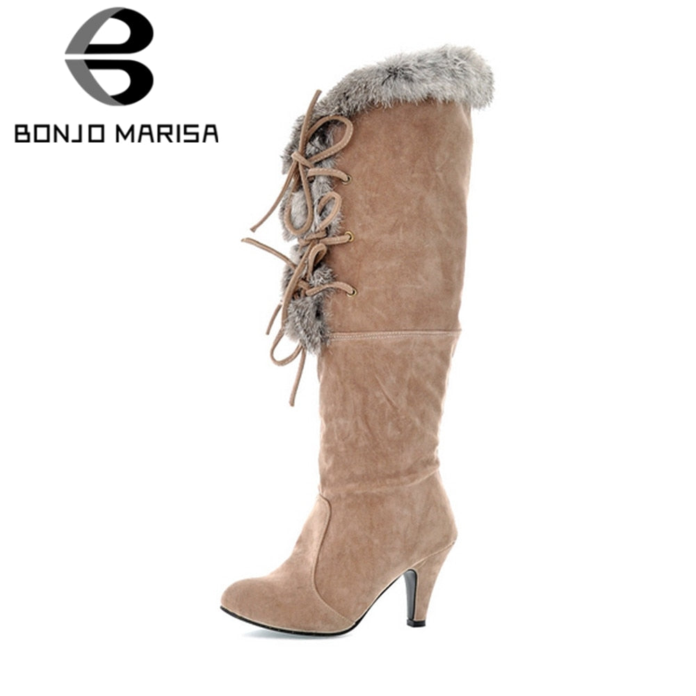 SALE 1/2 OFF WINTER BOOT High Heels Cross Tie Fur Boot