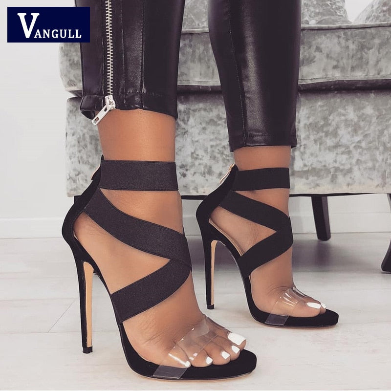 Cross Strap Women  2019 New Stretch Fabric Concise Summer High Heels
