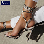 Ankle Strap Cross-tied Women  High Heel  Snakeskin grain  High Quality Shoes