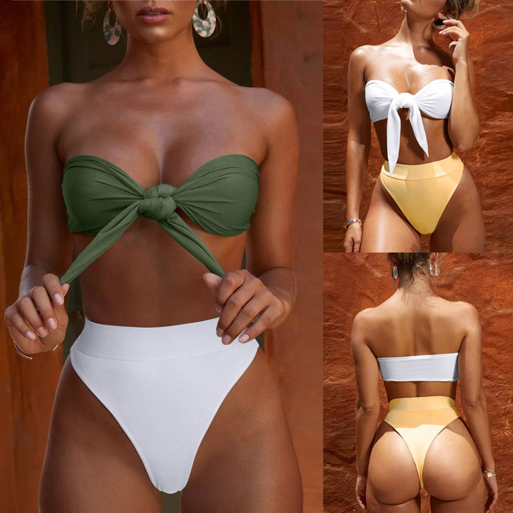 Women Bandage Bikini Set Push-Up Brazilian High-Cut Swimwear Beachwear Swimsuit