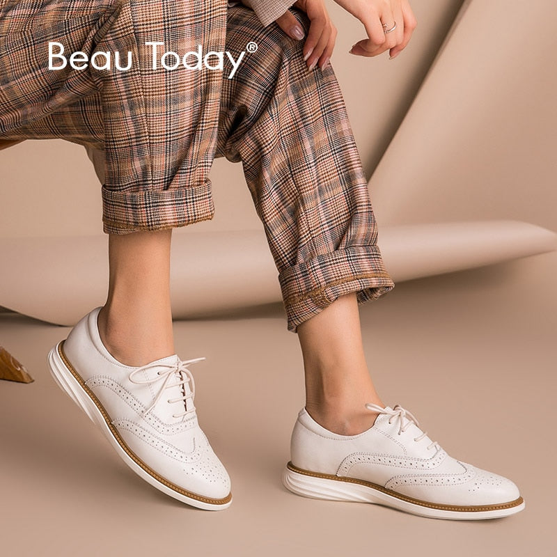 BeauToday Women Oxfords Calfskin Genuine Leather Brogue Style Round Toe Lace-Up Lady Flat Shoes Handmade 21332