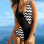 Women Corrugated Patchwork V Neck One Piece Bikini  Swimsuit