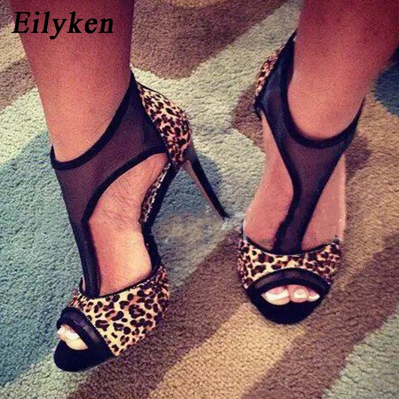 Sexy Peep Toe Thin Heels 2019 New Summer Leopard Lady Pumps