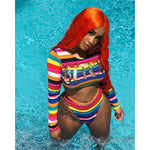 Letter Rainbow Striped Bad  B!#%* 2 Piece Swimsuit