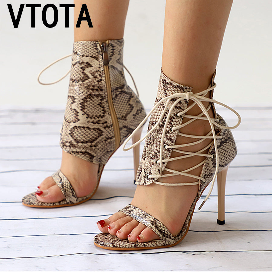 Lace-Up  Open Toe High Heels Sexy Women Snake Party Pumps