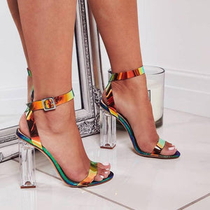 Magic Color High Heels Sandals Thick Crystal Heel