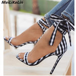 New Designer Scottish Plaid  Ankle Strap Lace-up Gladiator  Street Beat Belt Stiletto Sandal