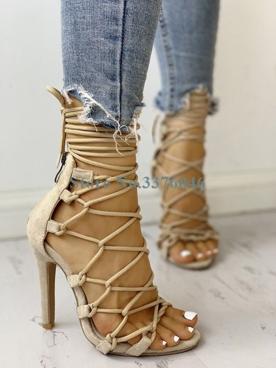 Cross Tied Thin High Heel  Gladiator Open Toe Cord Stiletto  Ankle Strap Summer Sandals
