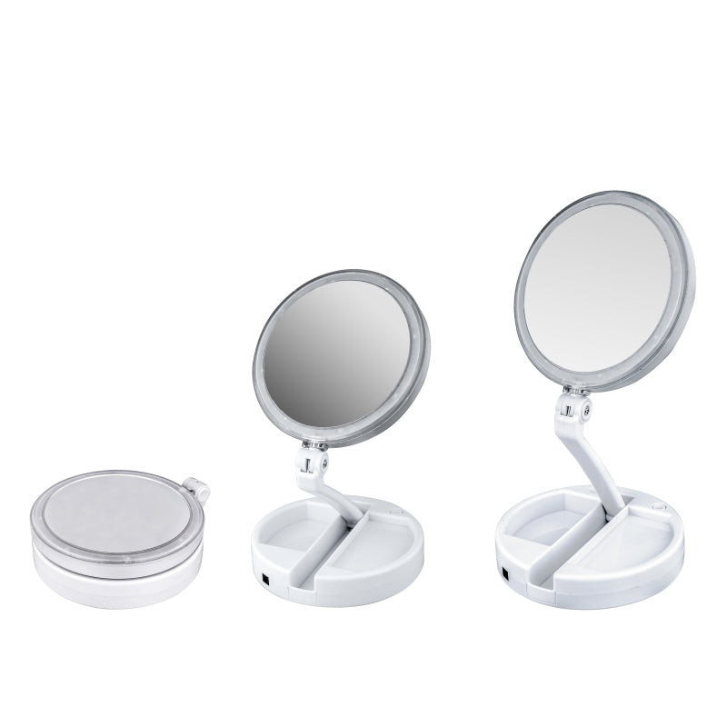 Double-sided Rotatable Folding LEDs USB Lighted Makeup Mirror Screen Tabletop Lamp Portable Mirror