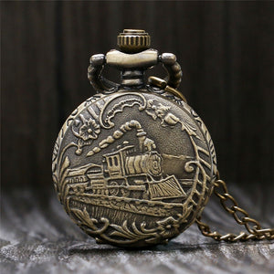 Antique Small Pocket Watch Delicate Train Steam Locomotive 3D Carving Slim Necklace Mini Clock Special Gifts for Children Boys