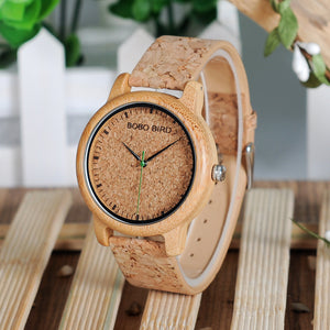 SALE $25.00 BOBO BIRD HIS / HERS  Handmade Cork Leather Wood Wristwatches Luxury in Box Dropshipping