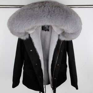 MAO MAO KONG 100% Real Raccoon Fur Collar winter fur coat