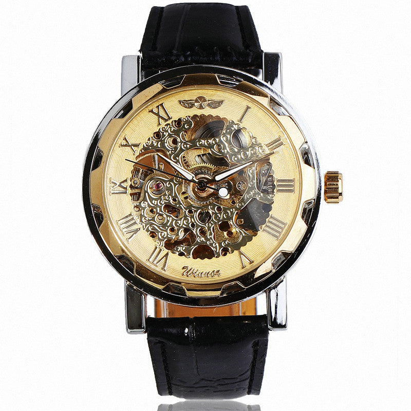 Winner Hand-wind Mechanical Watch Unisex Women's Watch Skeleton Leather Strap Roman Number Display Business Vogue +Box