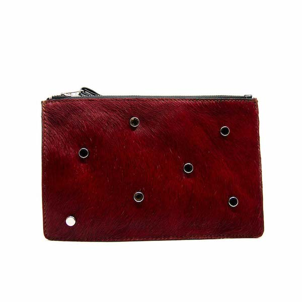 The Hides red cowhide clutch