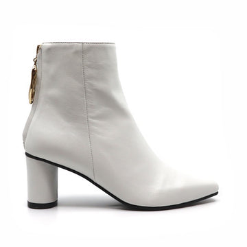 Wave Oval White | Mid heel leather ankle boot