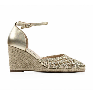 Selena Gold | Closed toe espadrille wedge