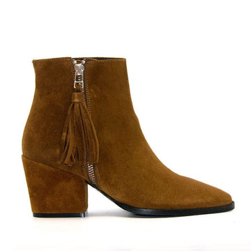 6897 Tan  | mid heel suede ankle boot