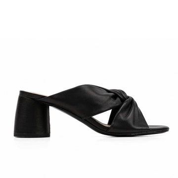 Dina | Mid heel black leather mule