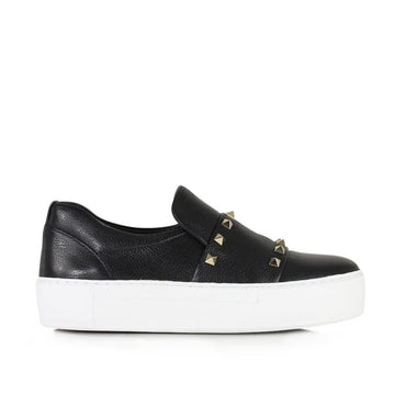8619 Black | Platform leather sneaker