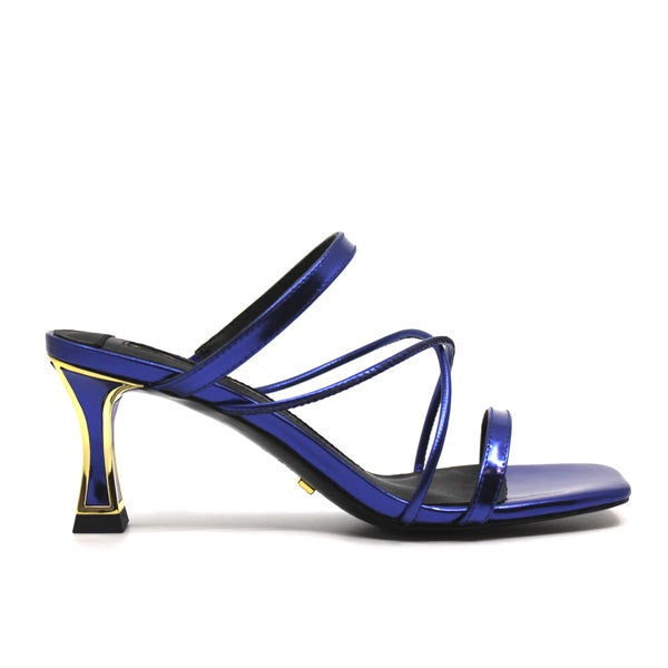 Pari Blue | mid heel leather sandal