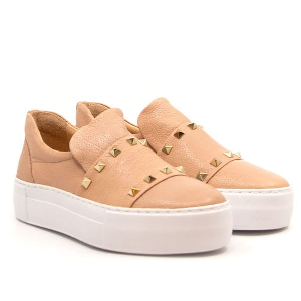 8619 Pink | Platform leather sneaker