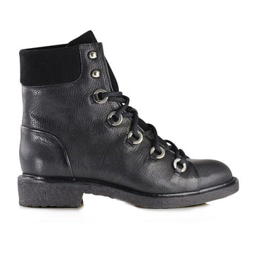 product image Black leather flat lace up combat boots by Billi Bi