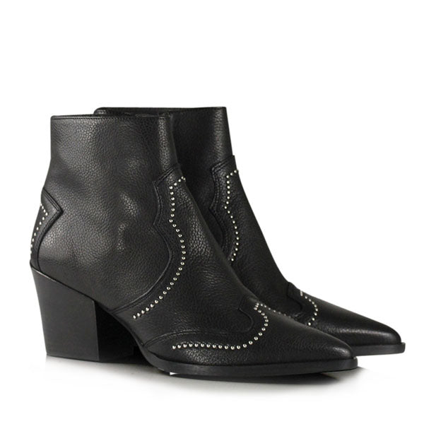 product image Black leather, western heeled Billi Bi ankle boots with silver stud detail