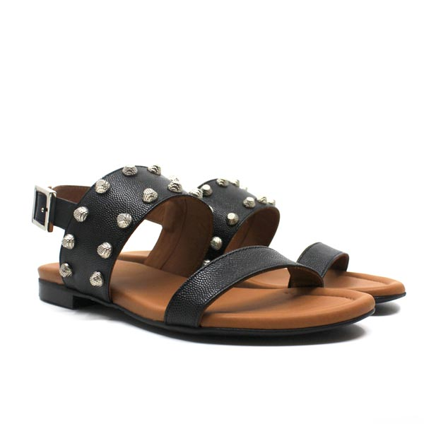 angle view Black textured leather Billi Bi flat sandal with silver stud detail